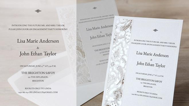 elegant engagement party invites