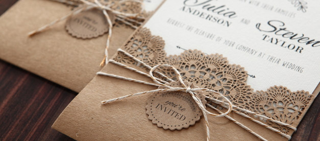 Wedding invitation with lasercut and twine