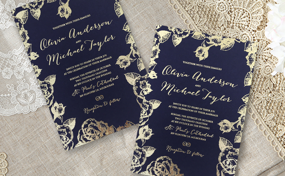 Blooming-foiled-navy-wedding-invite
