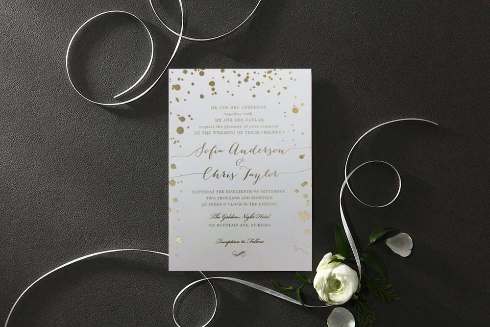 white-wedding-invitation-gold-splatter