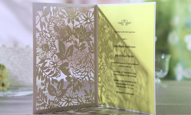 Economy range - garden inspired invite, rectangle die cut enclosure with soft yellow inner paper.