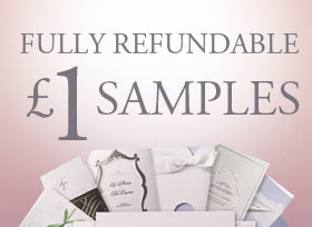 Wedding invitations with a refundable samples icon.