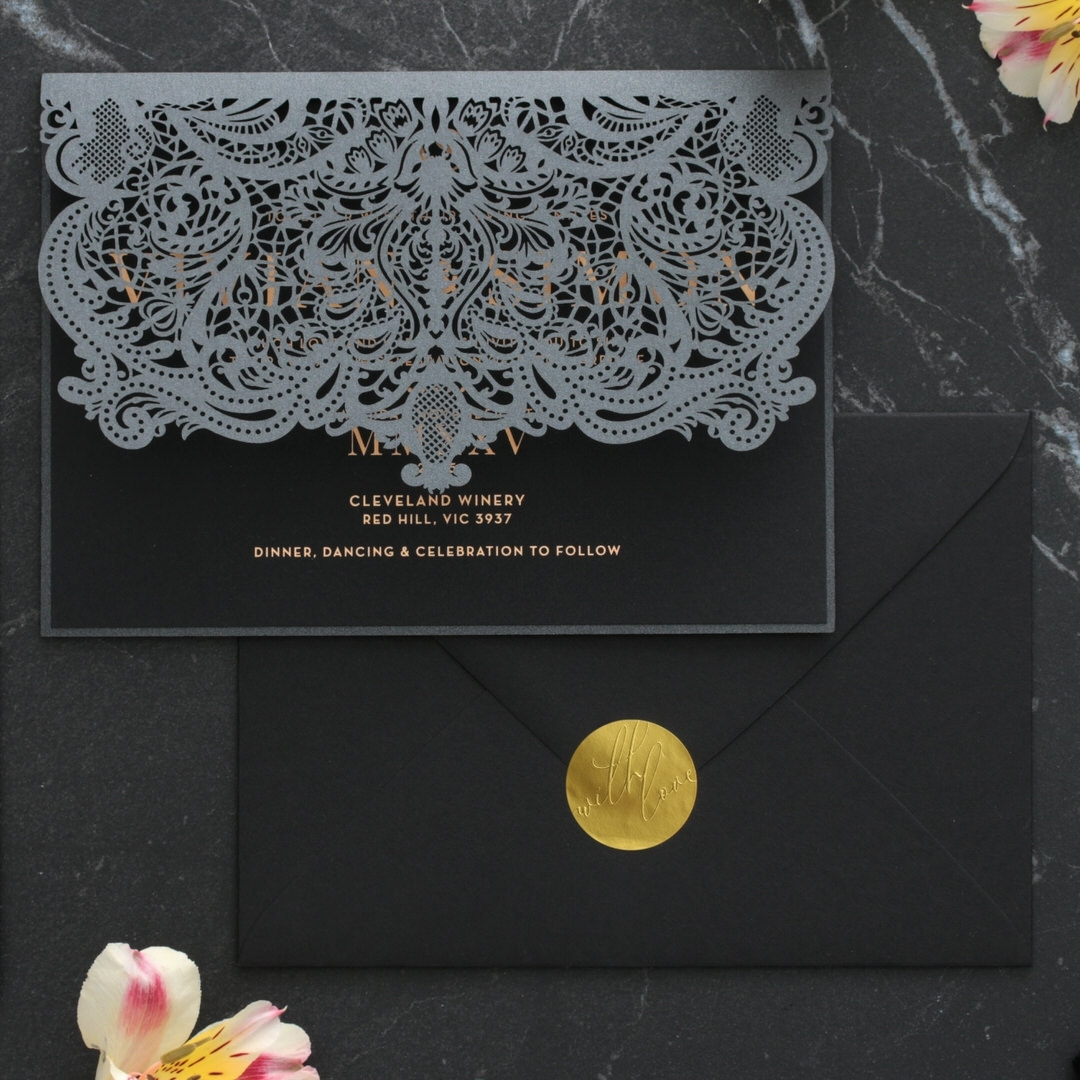 Intricate Royal Lace Half Fold - Wedding Invitations - PWI116142-F-GK-7610 - 178332