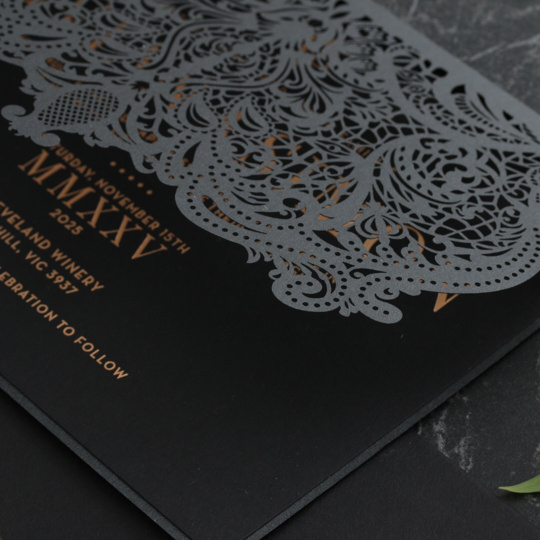 Royal Lace Lasercut Half Fold - Wedding Invitations - PWI116142-F-GK-7610 - 183836