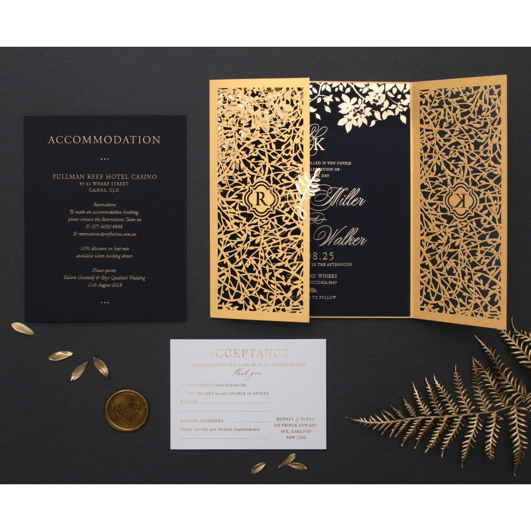Grandoise Golden Botanical Gates - Wedding Invitations - PWI116022-NV-7615 - 178301