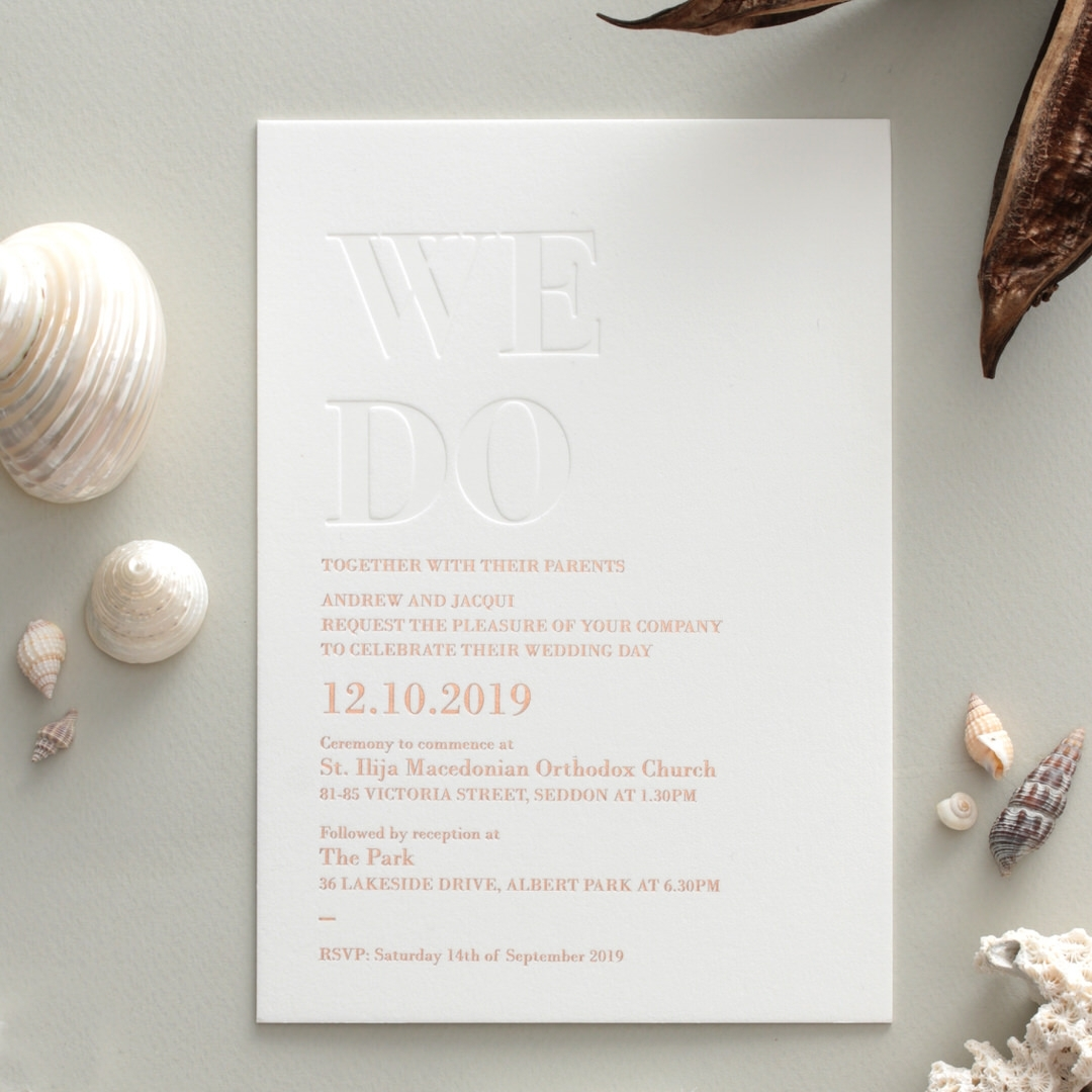 WE DO - Letterpressed and Foiled Luxe - Wedding Invitations - WP010FBR-EB - 178431