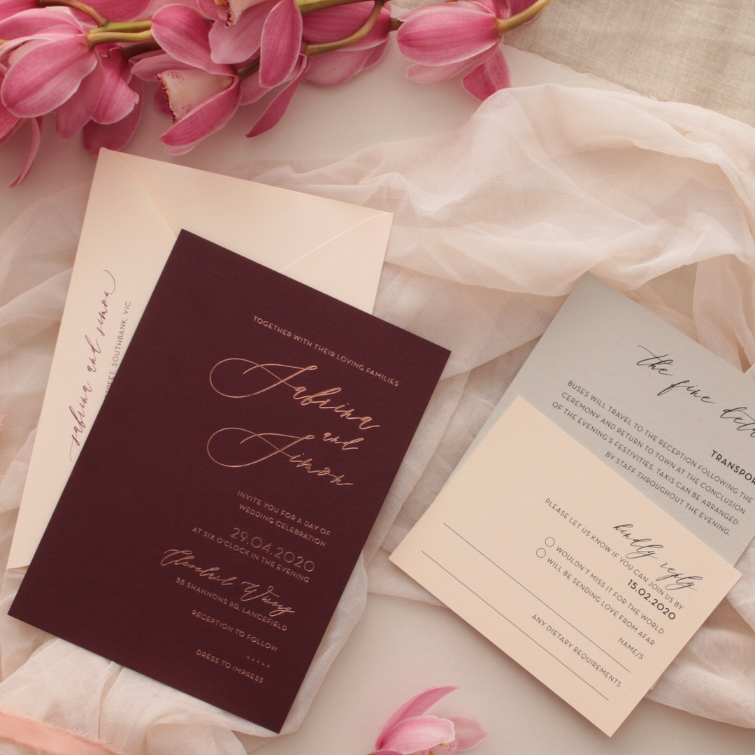 Scarlet Foiled Love Letter - Wedding Invitations - WP304GG - 178283