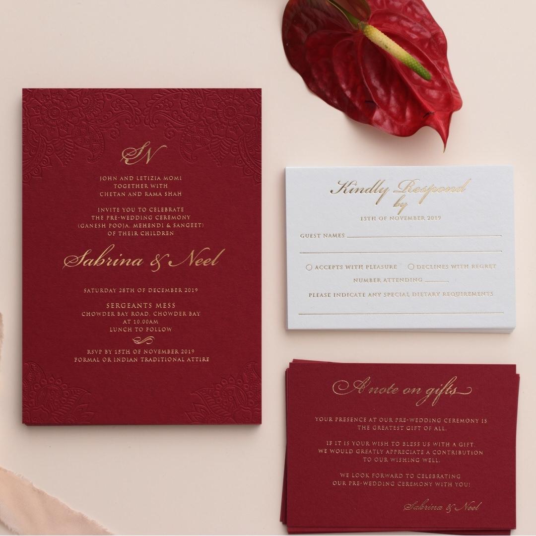 Henna Blind Letterpress Art on Burgundy  - Wedding Invitations - WP001CC-FB - 178374