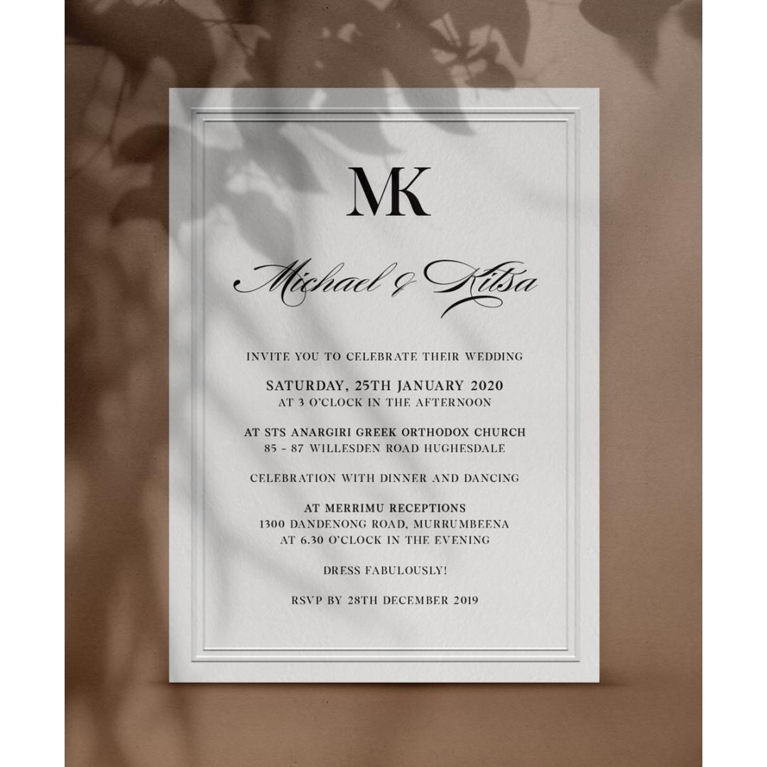 Classic Embossed Frame - Wedding Invitations - PM-KI300-PEM-BL-01 - 179111