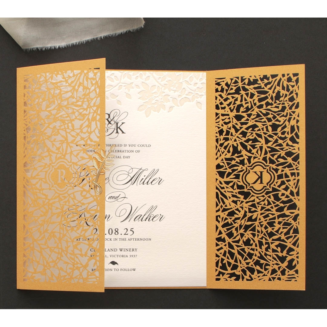 Golden Elegance Botanical Gates  - Wedding Invitations - PWI116022-DG-C-7618 - 178307