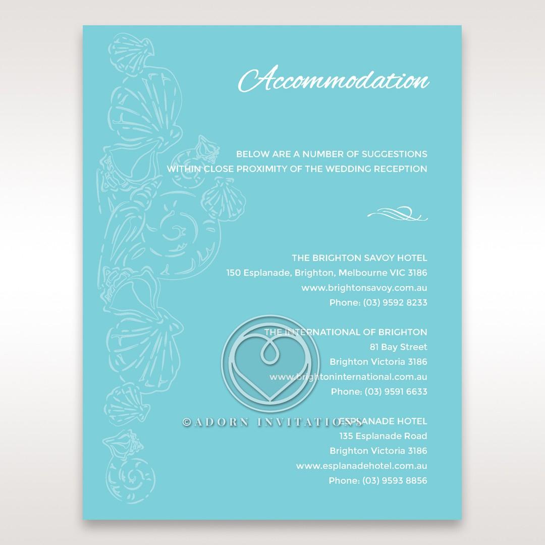 Seaside splendour accommodation wedding invite card
