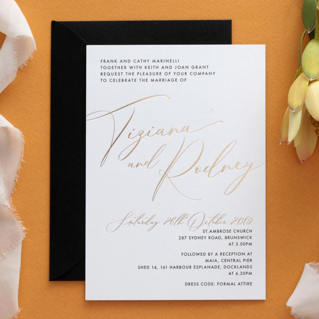 Gold Foil and Black Print Triplex - Wedding Invitations - WP-TP01-GG-01 - 178957