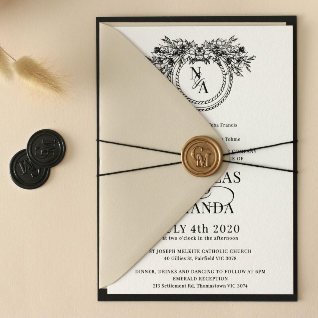 Captivating Ebony Wreath - Wedding Invitations - WP-CU550-B-01 - 178945