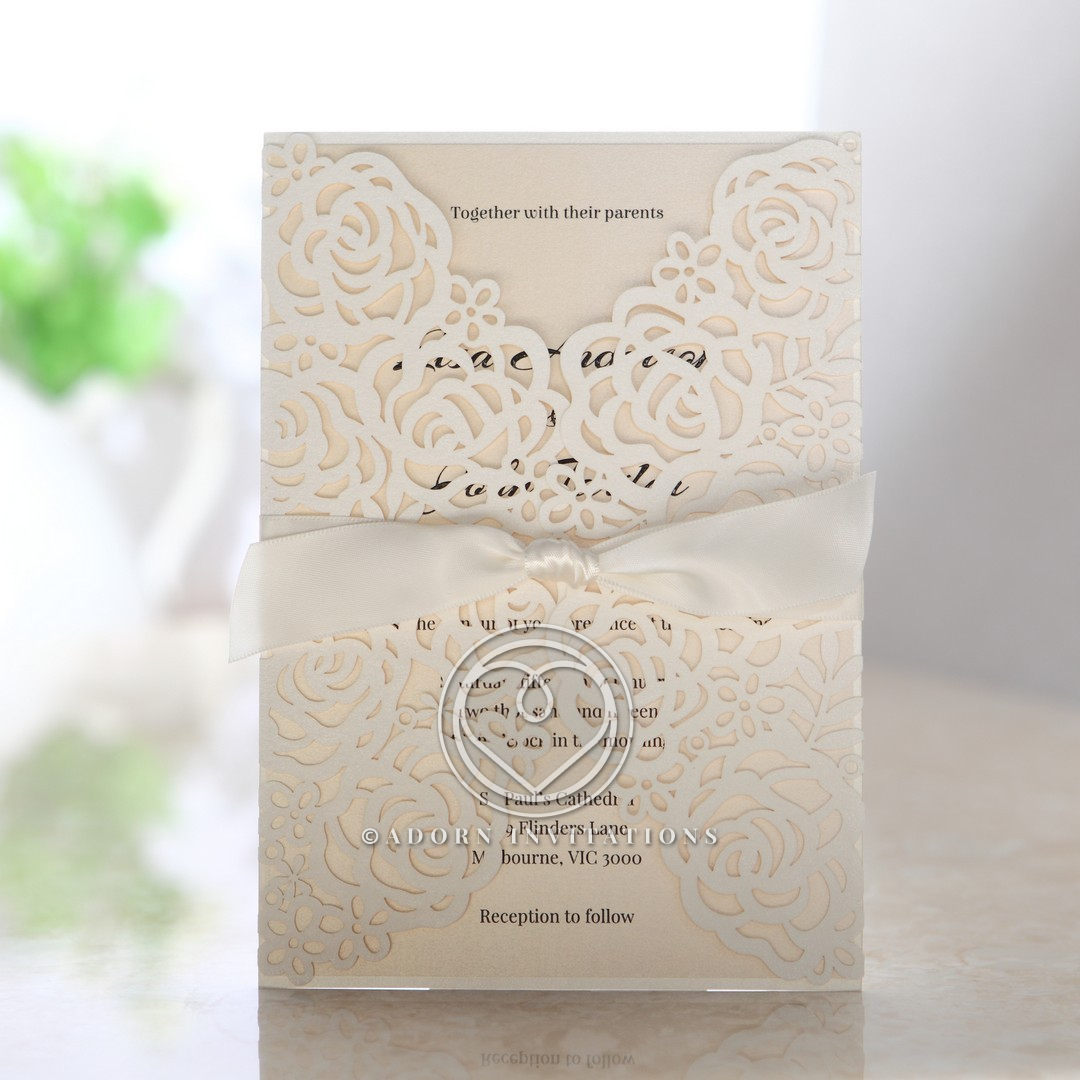 Wild Laser cut Flowers bridal shower invite