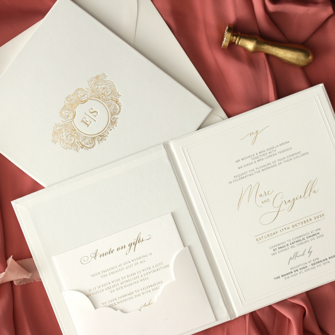Sophisticated Textured White Hardcover  - Wedding Invitations - HC-TW01 - 178990
