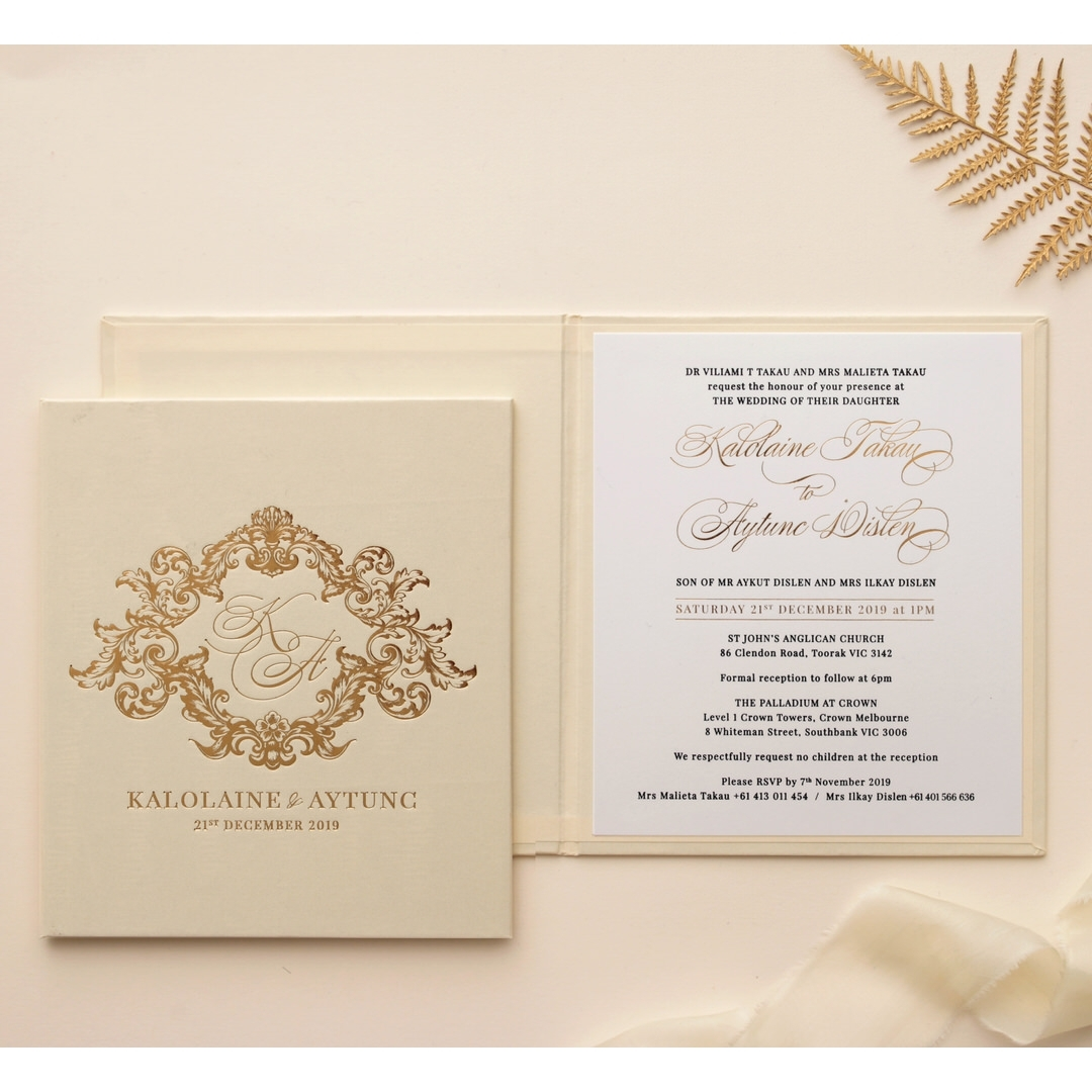 Gold Pearl Timeless Elegance Hardcover  - Wedding Invitations - HC-PG02 - 178494