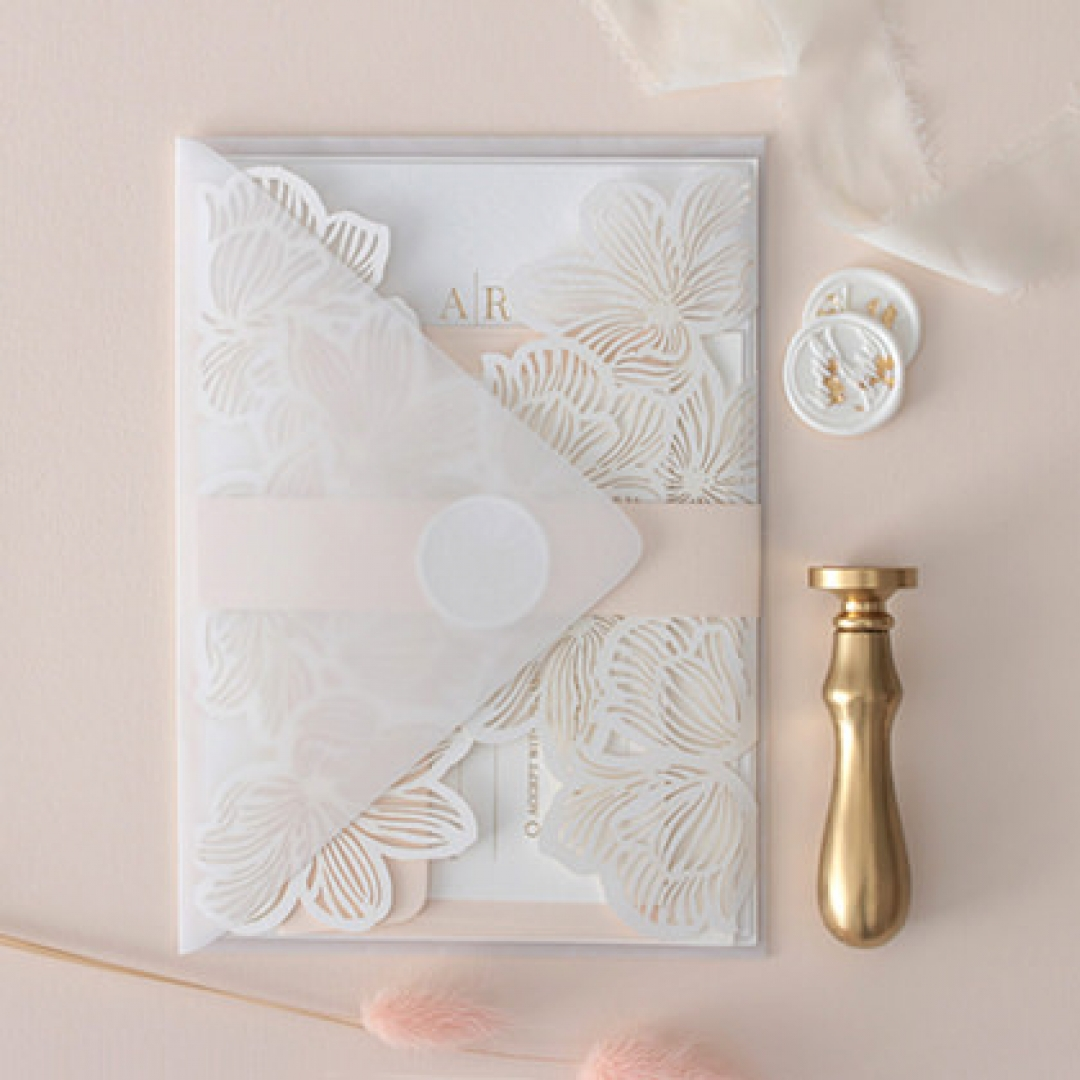 Gold Foil Stamped Floral Laser Cut Elegance - Wedding Invitations - BH1680-F - 178744