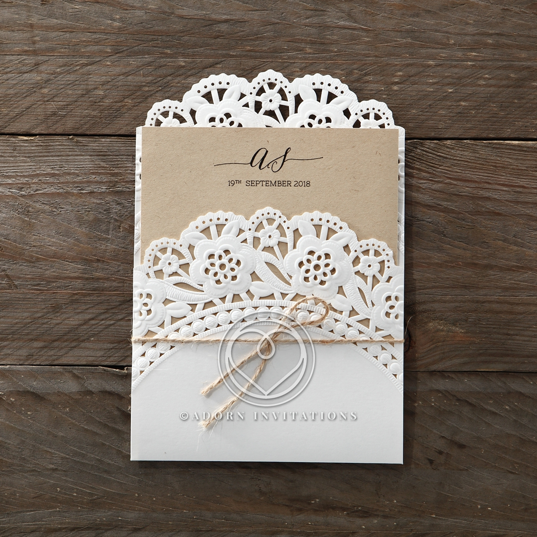 Laser Cut Doily Delight engagement party invite
