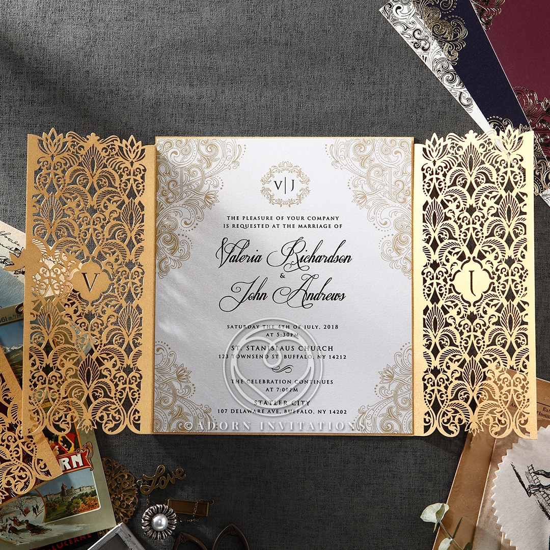 Imperial Glamour engagement party invite card