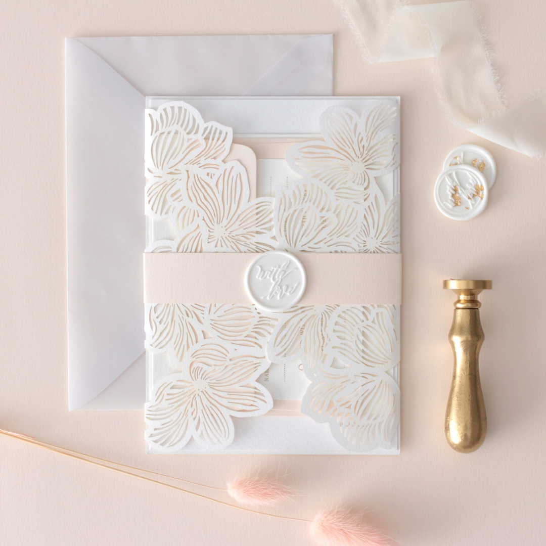 Gold Foil Stamped Floral Laser Cut Elegance - Wedding Invitations - BH1680-F - 178749