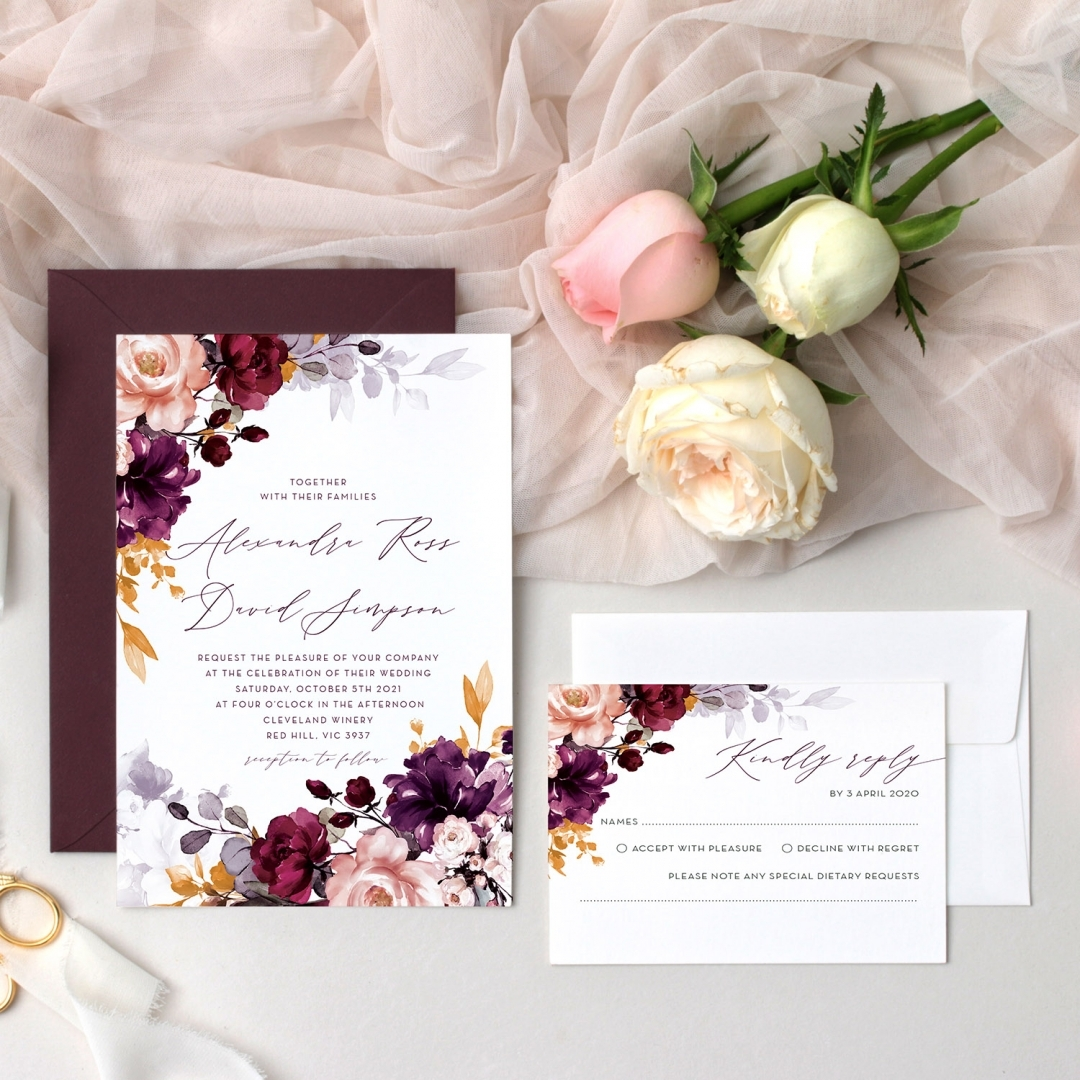 Burgundy Love - Wedding Invitations - GI-KI300-CP-01  - 178673