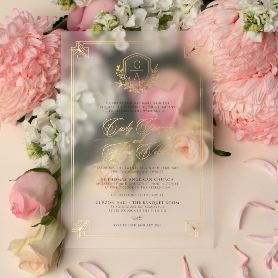 Regal in Gold Acrylic - Wedding Invitations - ACR-FLBL-FR-1 - 179005