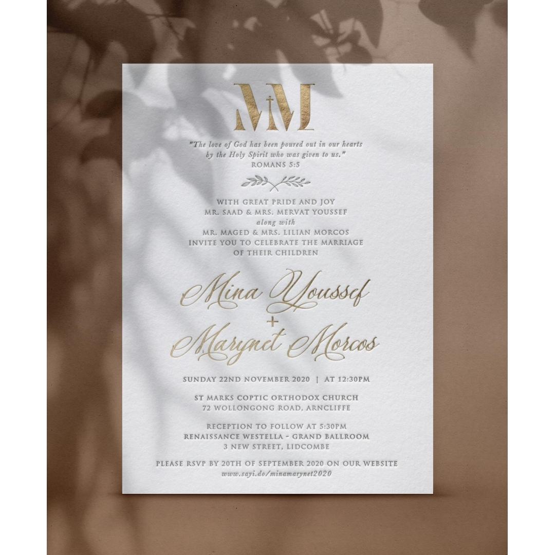 Foil and Letterpress Elegance - Wedding Invitations - WP-IC55-BLGG-03 - 179121
