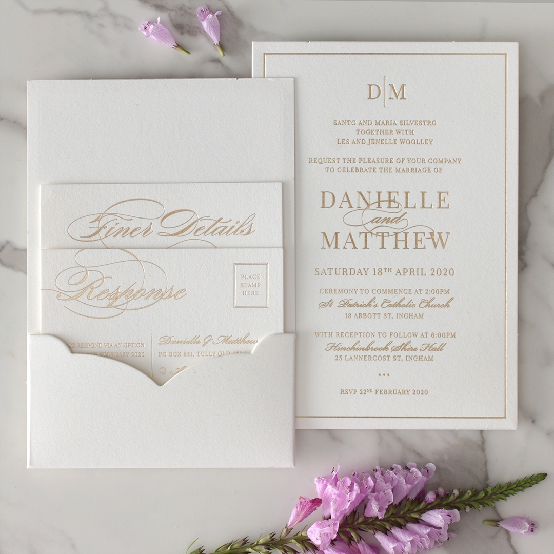 White Cotton Luxe Pocket  - Wedding Invitations - WP-HLFP-IC55-GG-01 - 178703