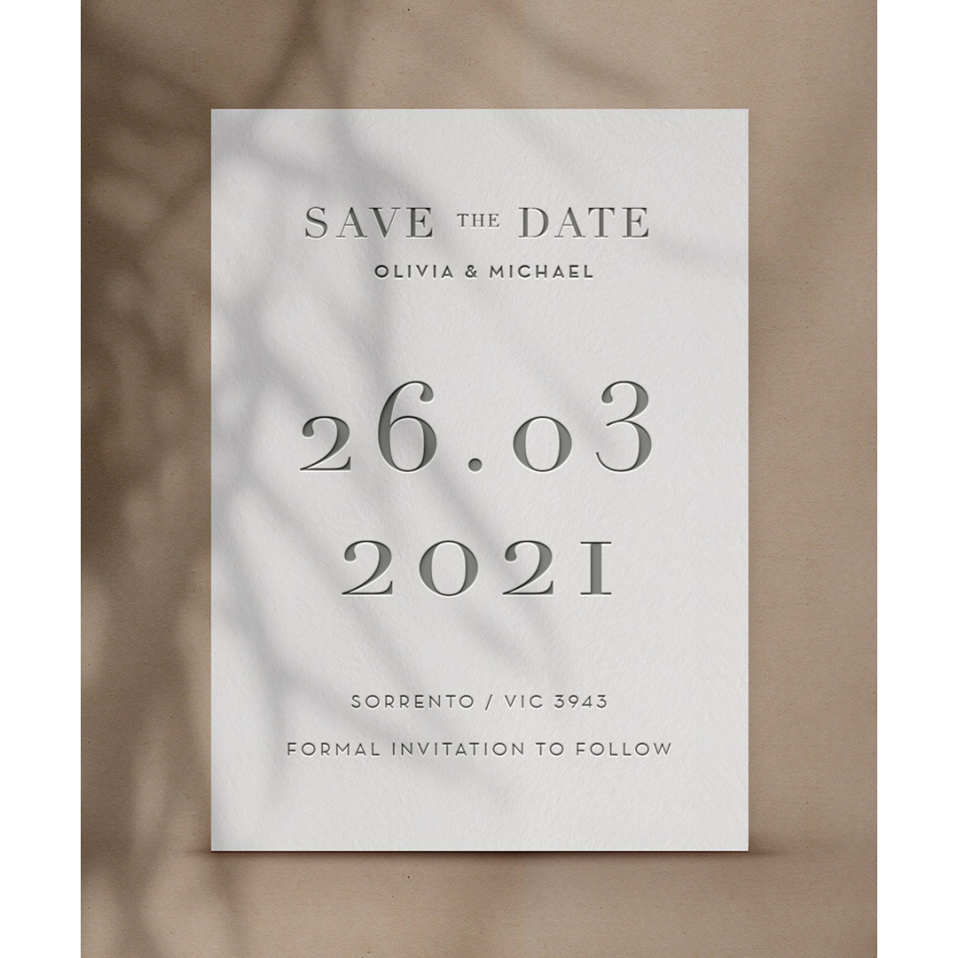Grey Letterpressed Cotton  - Wedding Invitations - WP-CR14-SD-CL-GY - 178883
