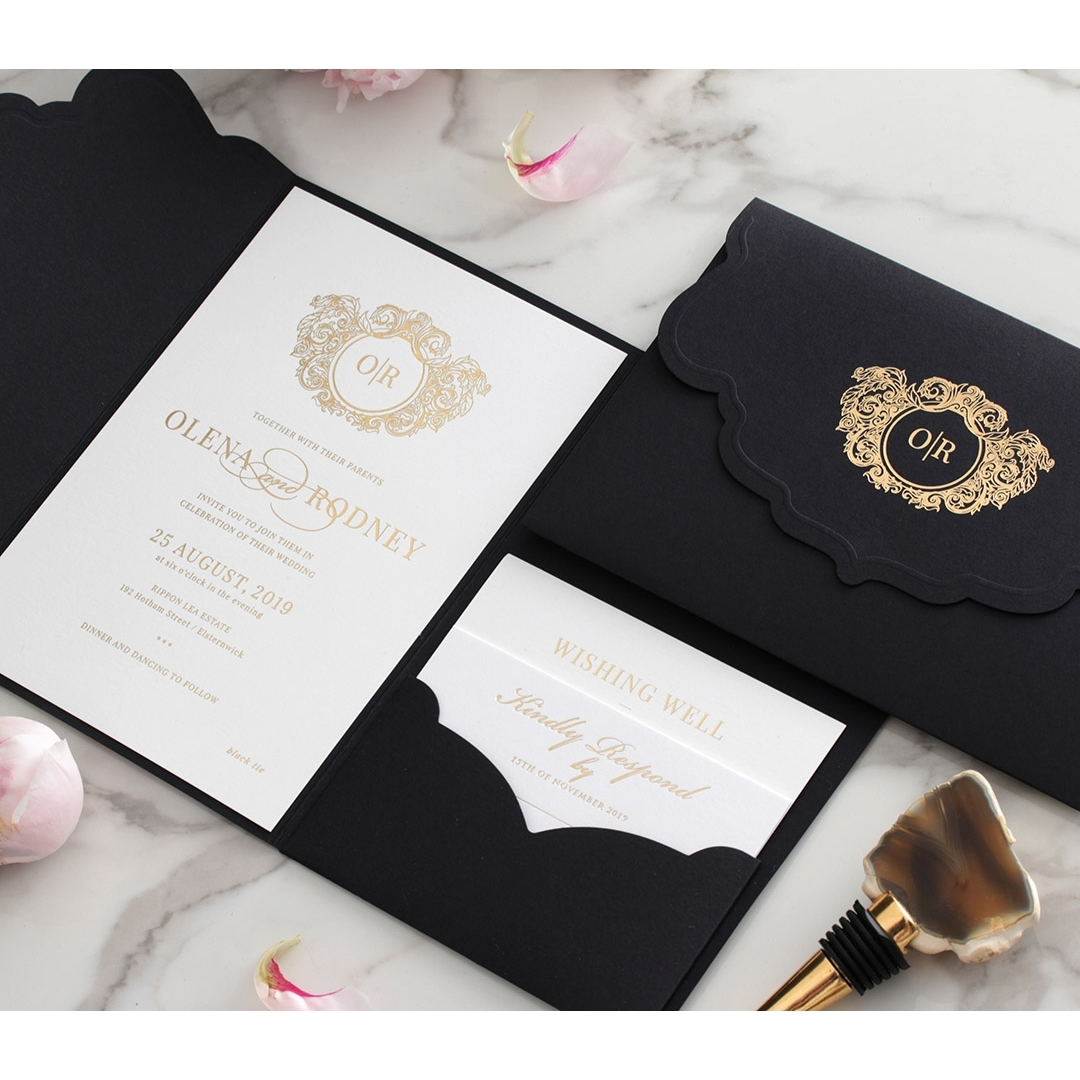 Magnificent Ebony and Gold Pocket  - Wedding Invitations - BP-SOLPW-TR30-GG-01 - 178557