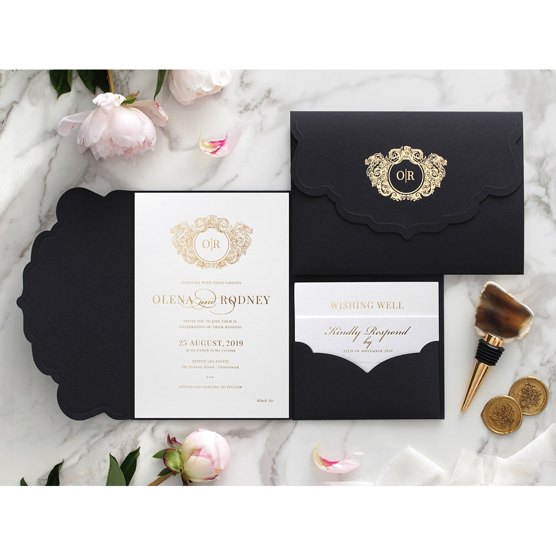 Stunning Regal Ebony Pocket - Wedding Invitations - BP-SOLPW-TR30-GG-01 - 184059