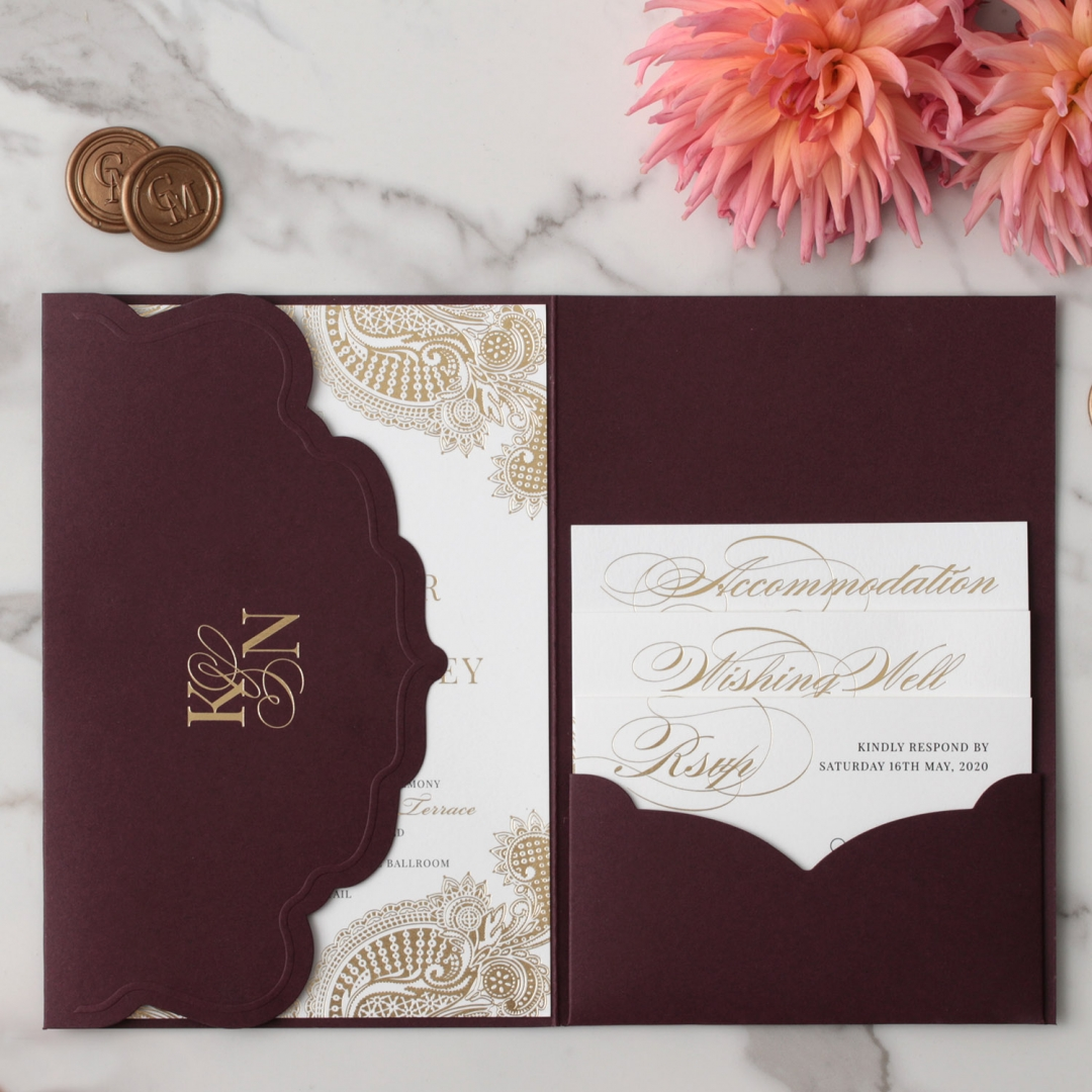 Opulent Burgundy and Gold Pocket  - Wedding Invitations - BP-SOLPW-TR30-GG-02 - 178590