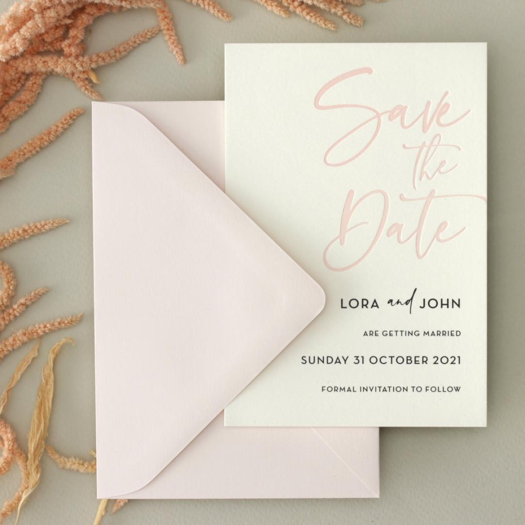 Blush Peach Save Our Date - Wedding Invitations - WP-CR14-SD-BL-2 - 179025