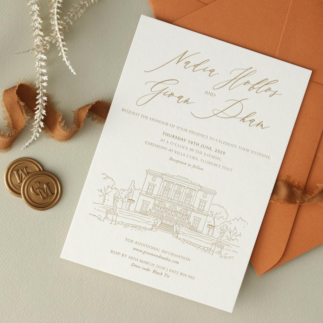 Letterpressed Castle Illustration - Wedding Invitations - WP-IC55-LP-02 - 178820