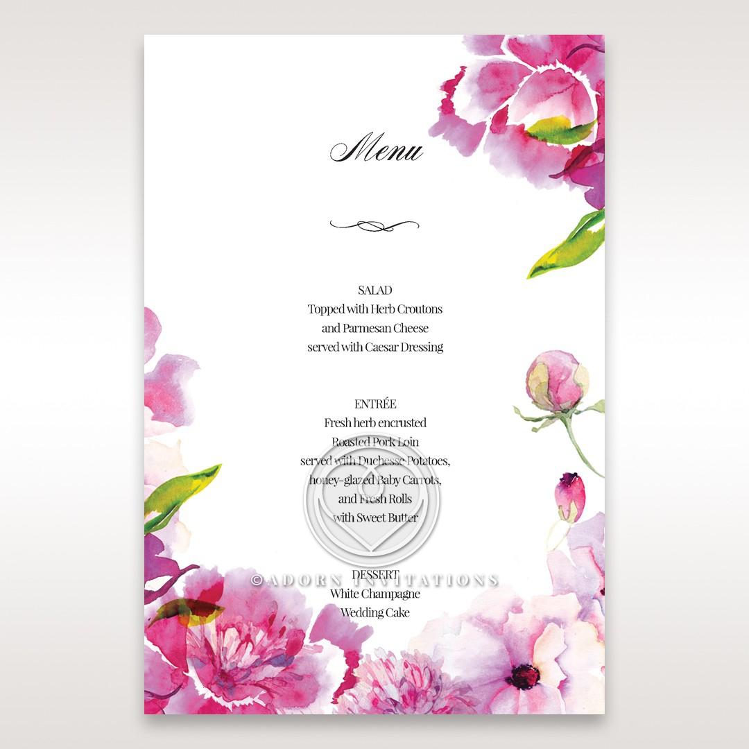 Black Framed Floral Pocket wedding stationery menu card design