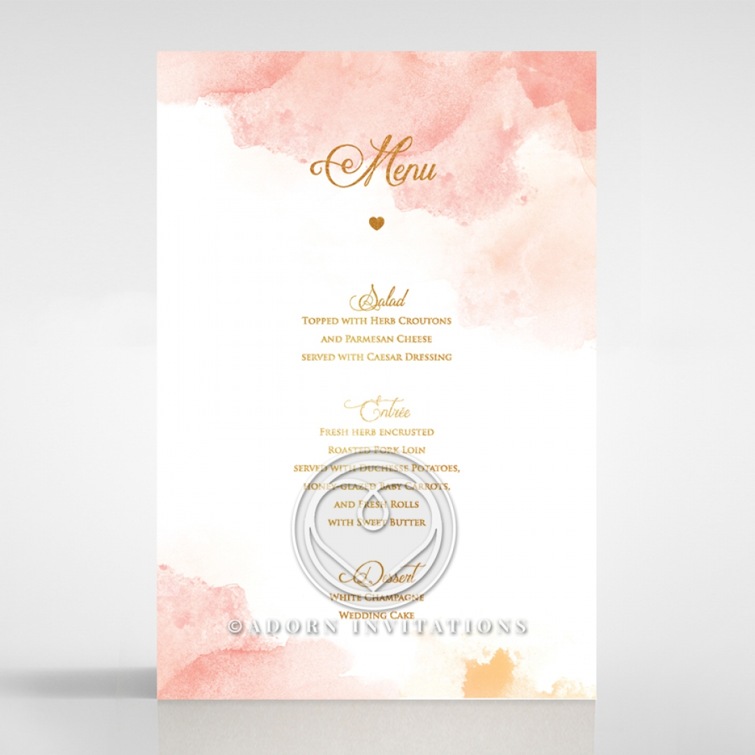 Dusty Rose  with Foil menu card stationery