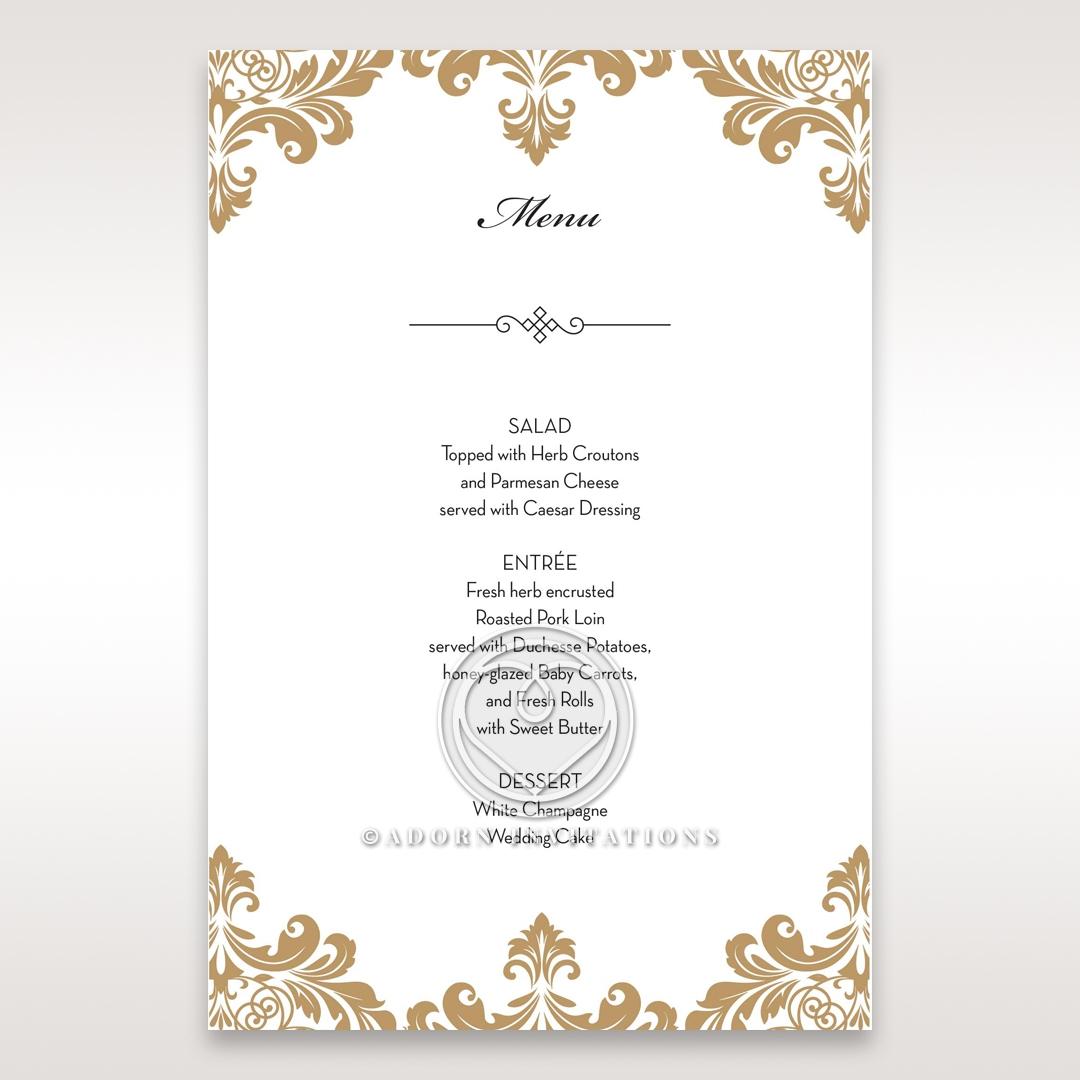 Golden Antique Pocket wedding menu card design