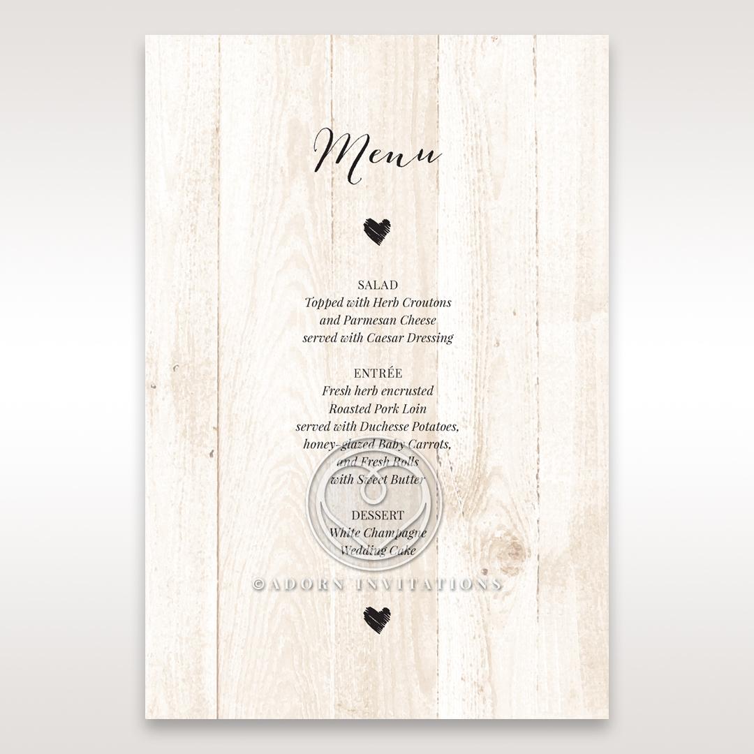 Rustic Woodlands wedding venue menu card stationery item