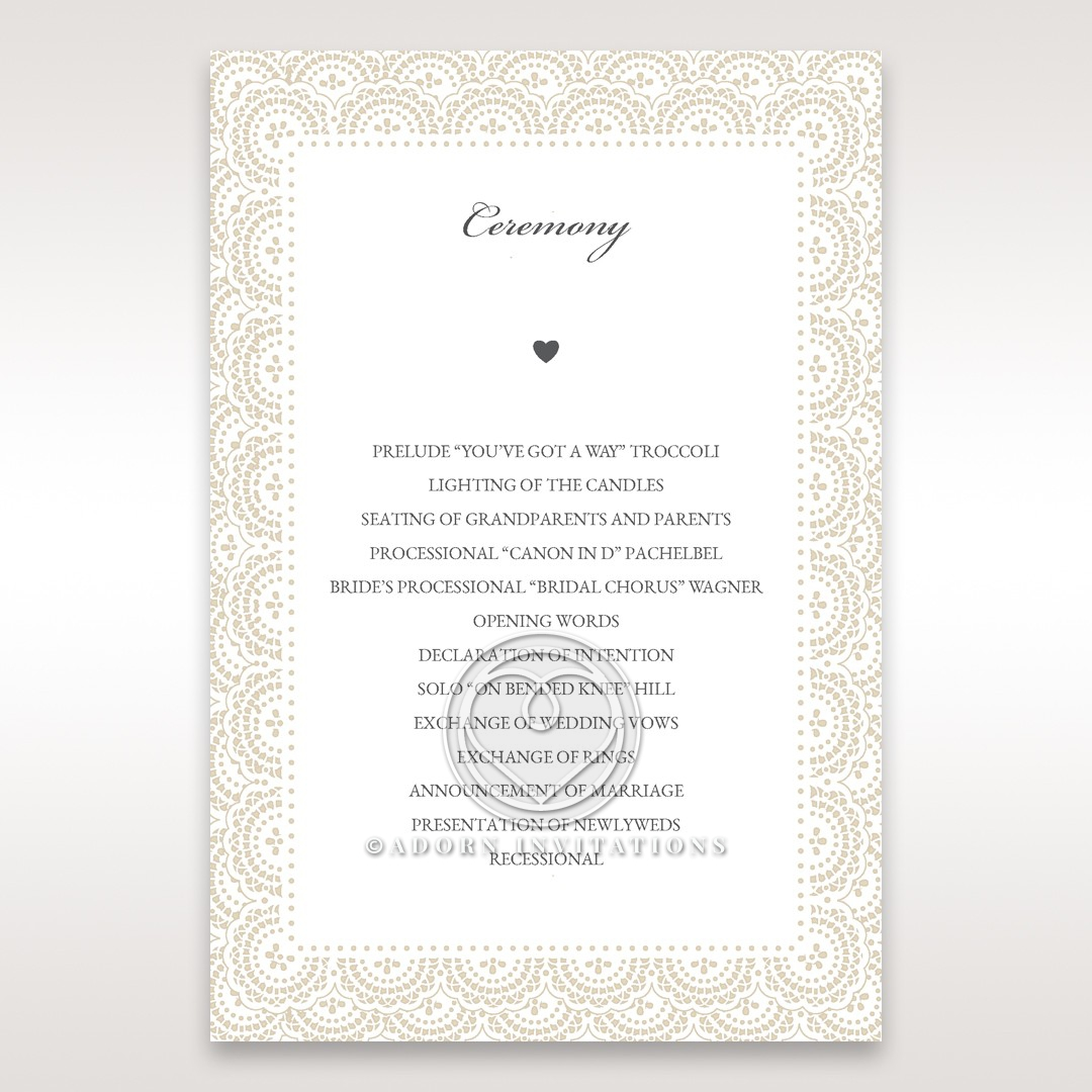 Intricate Vintage Lace wedding order of service card design