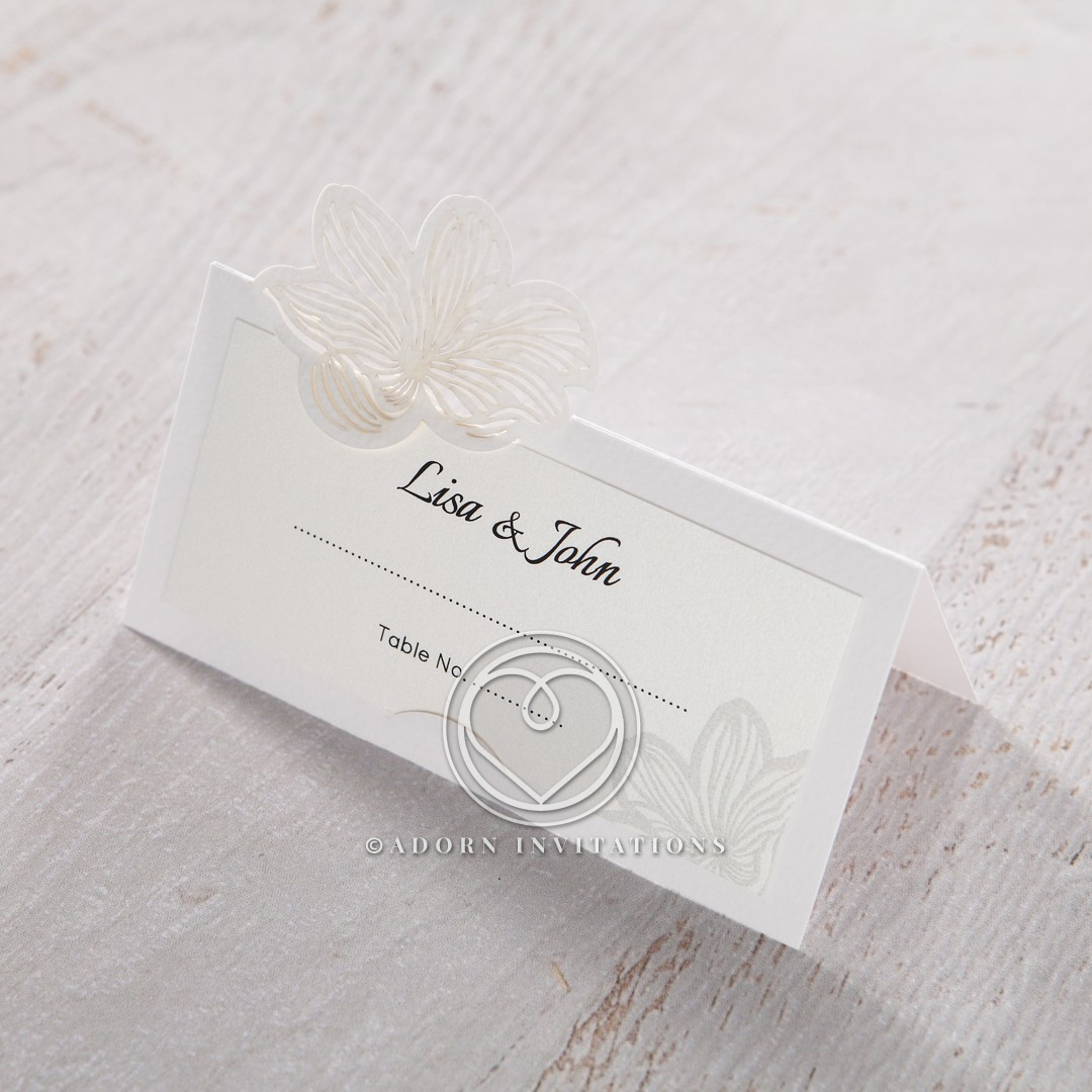 Floral Laser Cut Elegance place card stationery design
