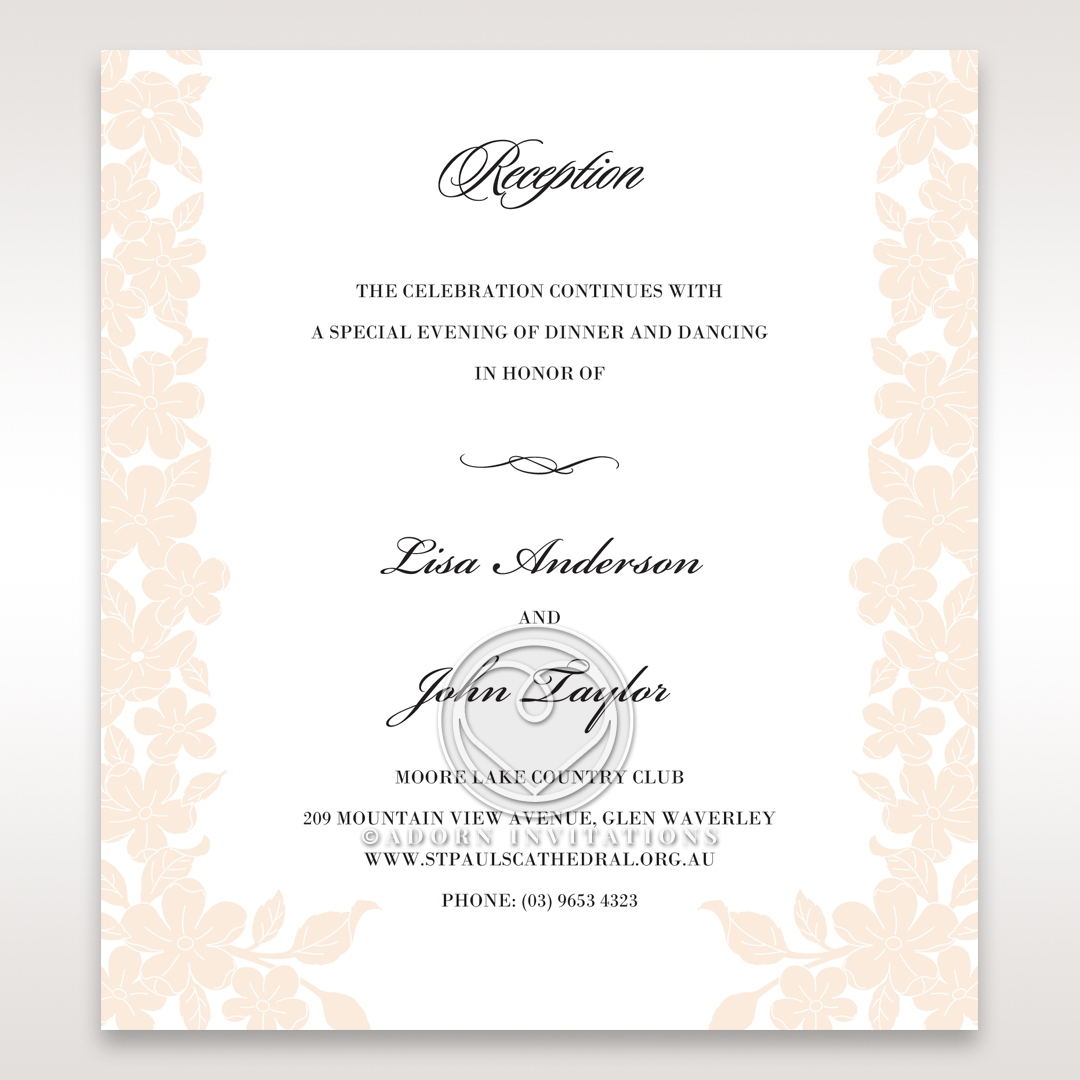 Embossed Floral Frame reception enclosure invite card