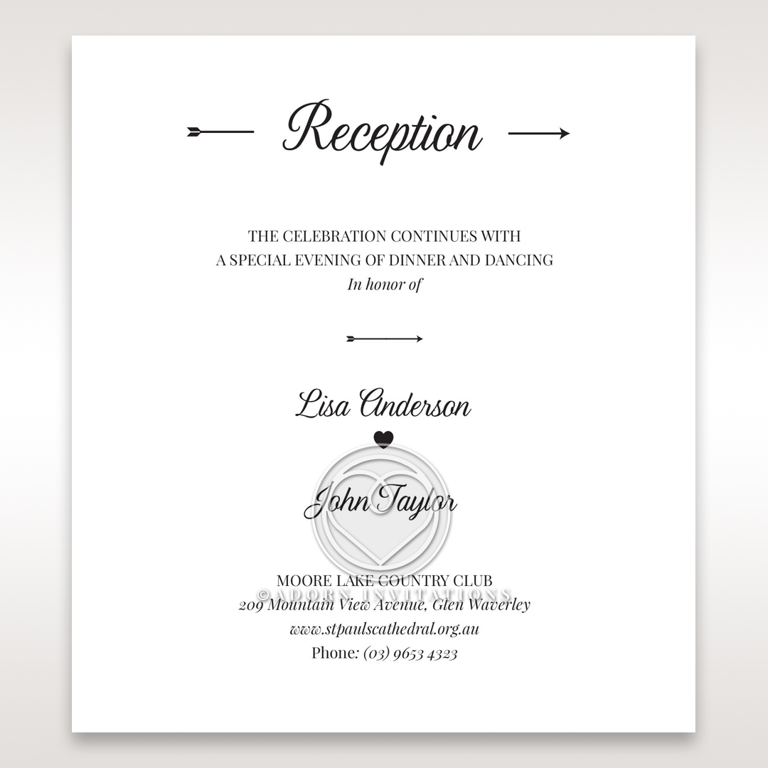 Embossed Frame reception stationery invite card design