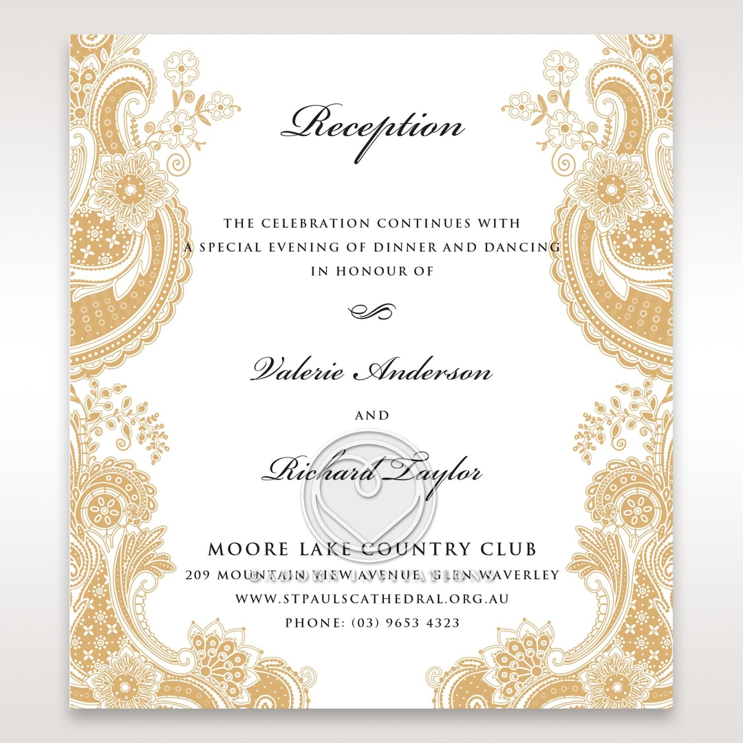 Prosperous Golden Pocket wedding reception invitation card