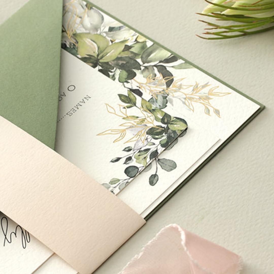 Gold Glam Greenery - Wedding Invitations - WP-CP02-GG-01 - 179087