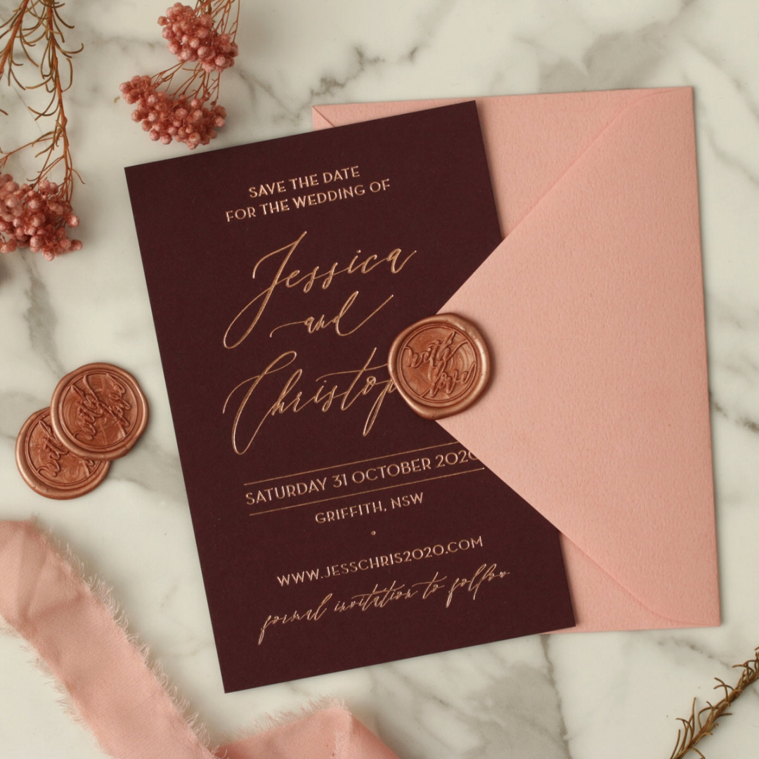 Blackberry Coloured Save the Date with Foil - Wedding Invitations - WP-CR14-RG-01 - 178834