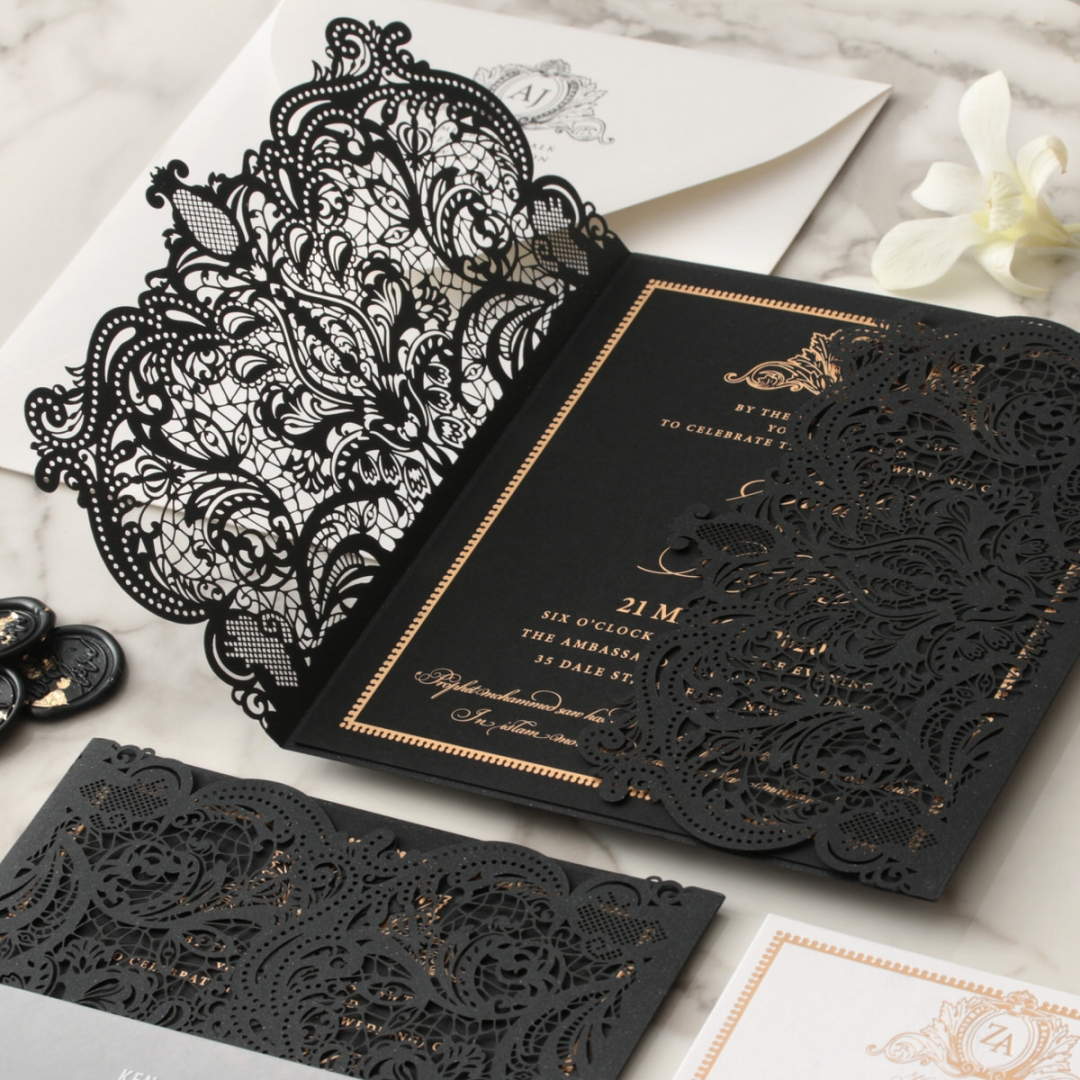 Lux Royal Lace with Foil - Wedding Invitations - PWI116142-F-GK - 178767