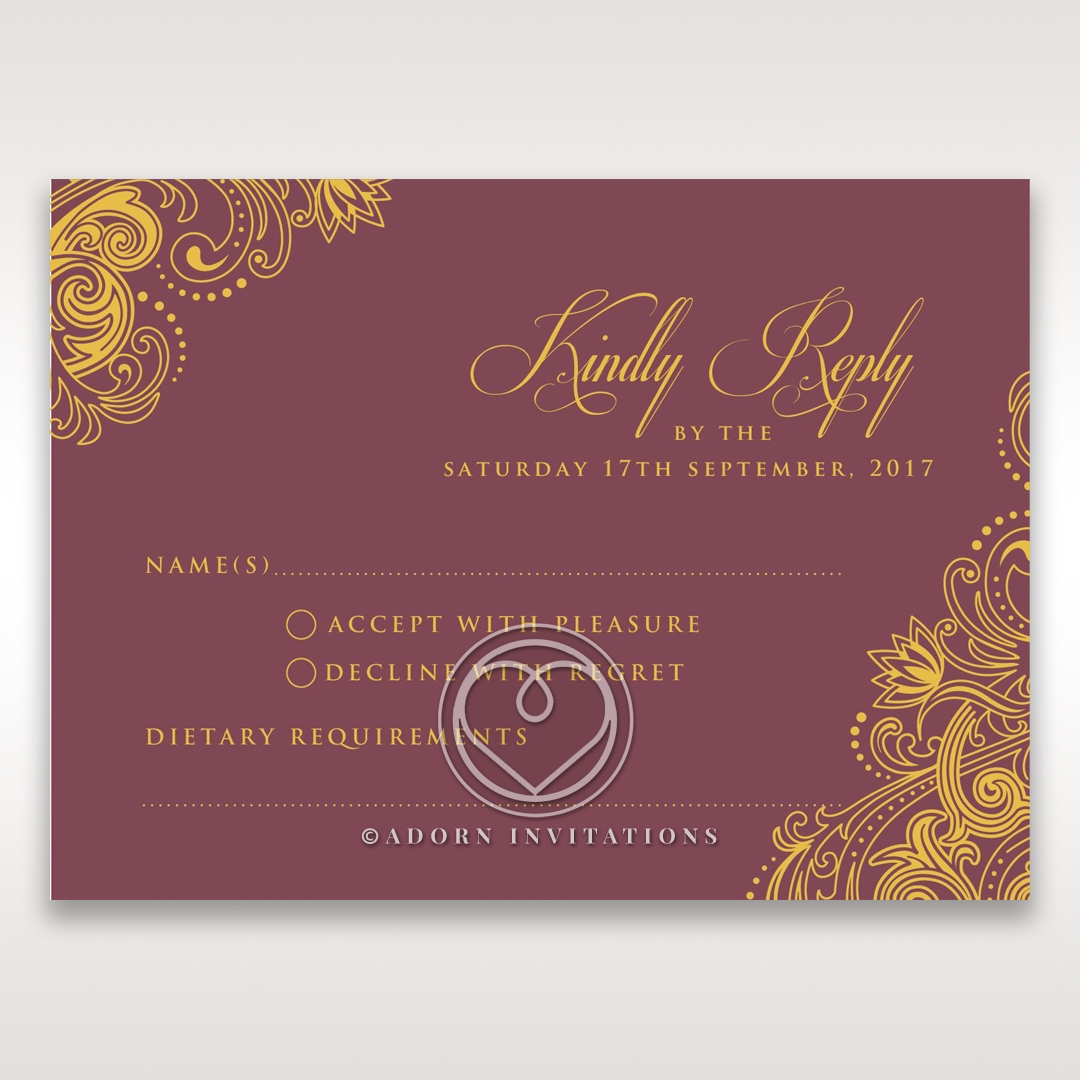 Imperial Glamour with Foil rsvp card design