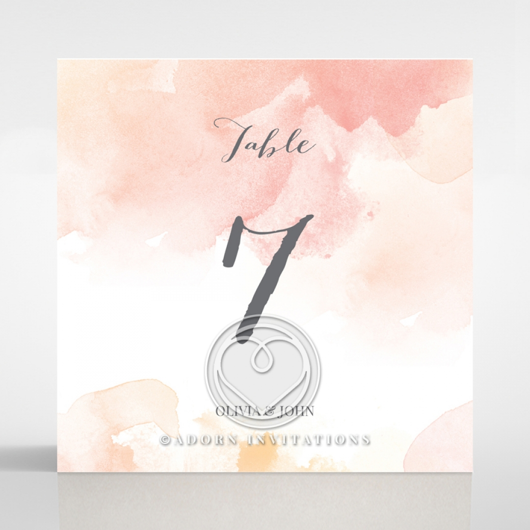 Blushing Rouge wedding reception table number card stationery design