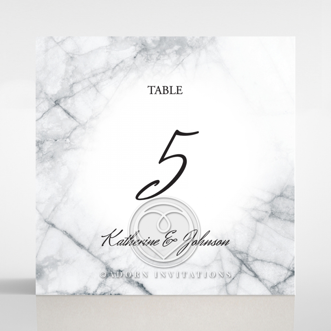 Marble Minimalist wedding reception table number card design