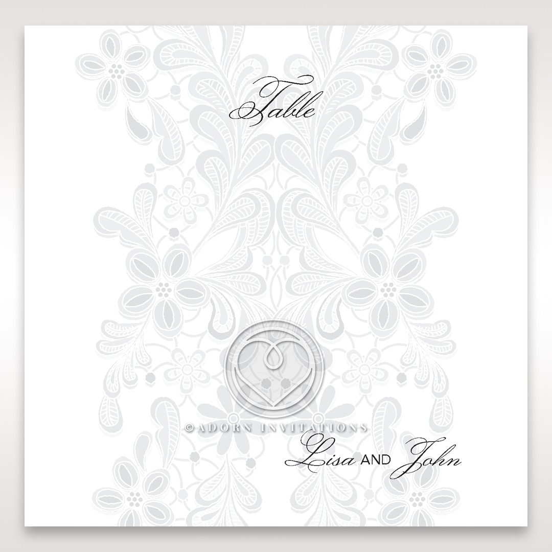 Enchanting Ivory Laser Cut Floral Wrap wedding reception table number card stationery design